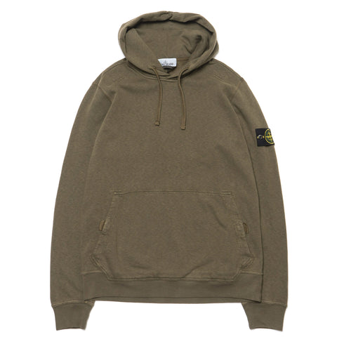 stone island Slub Effect Garment Dyed Old Effect Pullover Velcro Snap Hooded Sweat-Shirt olive