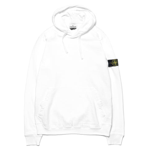 stone island Slub Effect Garment Dyed Old Effect Pullover Velcro Snap Hooded Sweat-Shirt White