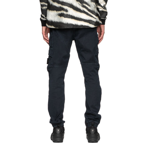 Stone Island Stretch Broken Twill Cotton Garment Dyed Old Effect Diagonal Pocket Pants Blue