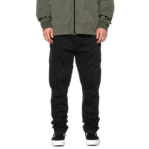 "Stone Island Stretch Broken Twill Garment Dyed ""Old Effect"" Cargo Pant Black, Bottoms"