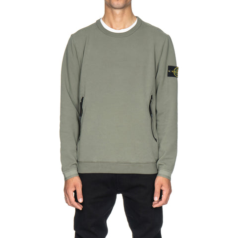 stone island Stretch Mercerized Fleece Garment Dyed Crewneck Zip Pocket Sweat-Shirt Verde