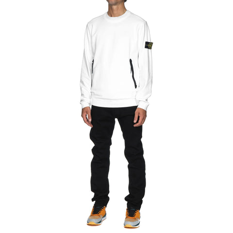 stone island Stretch Mercerized Fleece Garment Dyed Crewneck Zip Pocket Sweat-Shirt White