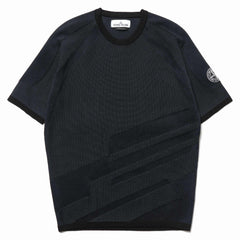 stone island shadow project Two Color Intarsia Stitching Knit SS T-Shirt Dark Blue