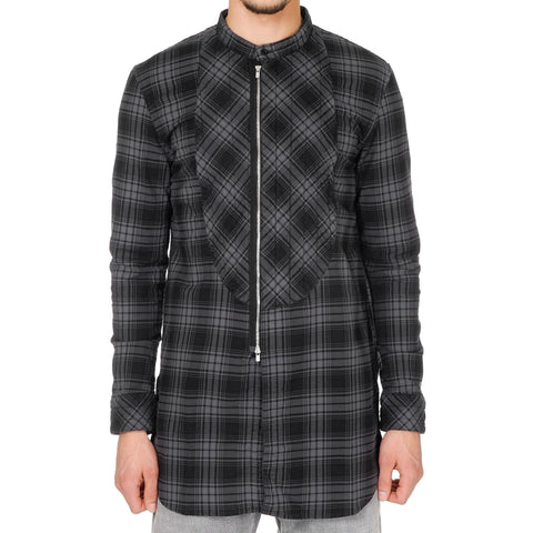 nonnative Stroller Quilted Long Shirt - C/P Mini Plaid Check Overdyed