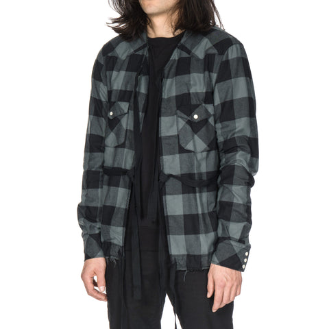 TAKAHIROMIYASHITA The SoloIst. Collarless Western Shirt Black x Sage Green