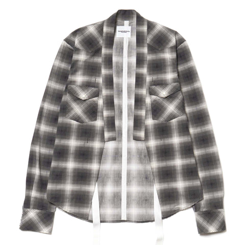 TAKAHIROMIYASHITA The SoloIst. Plaid Haori Shirt Black