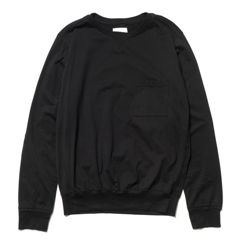 TAKAHIROMIYASHITA The SoloIst. Rib Tail Crew Neck L/S Pocket Tee Black