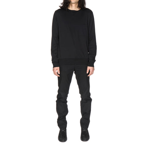 Rib Tail Crew Neck L/S Pocket Tee Black