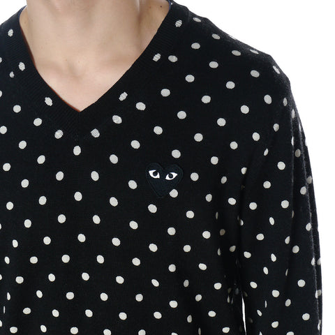 Top Dyed Carded Wool Polka Dot Lambswool Jersey Emblem V-Neck Sweater Black