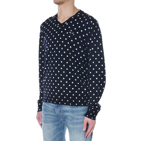 Top Dyed Carded Wool Polka Dot Lambswool Jersey Emblem V-Neck Sweater Navy
