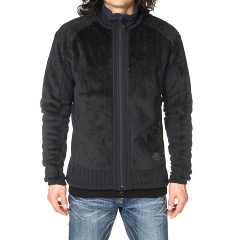 Uniform Experiment Polartec Fleece Stripe Side Panel Blouson Black