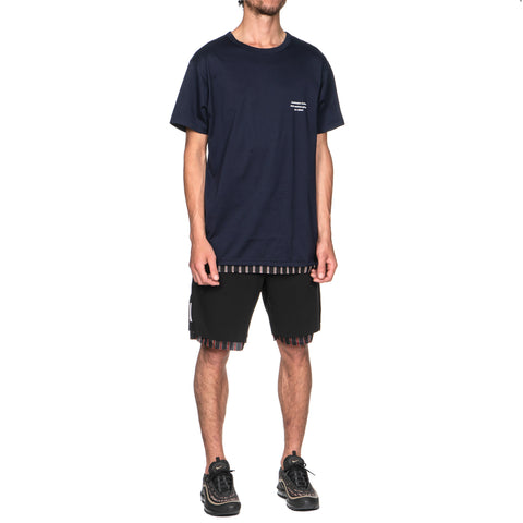 Uniform Experiment Cut Hem Stripe Layered Tee Navy