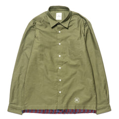 uniform experiment Cut Off Fake Layered Regular Collar Shirt Khaki