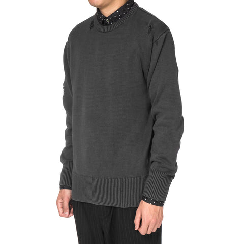 Uniform Experiment Damaged Over Dye Crew Neck Knit