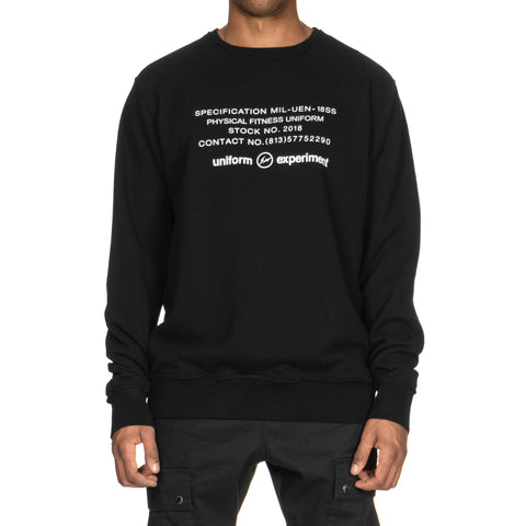 Uniform Experiment Inside Out Physical Fitness Crew Neck Sweat Black