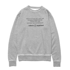 Uniform Experiment Inside Out Physical Fitness Crew Neck Sweat Gray