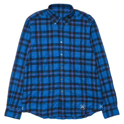 Uniform Experiment Numbering Shirring Check B.D Shirt Blue