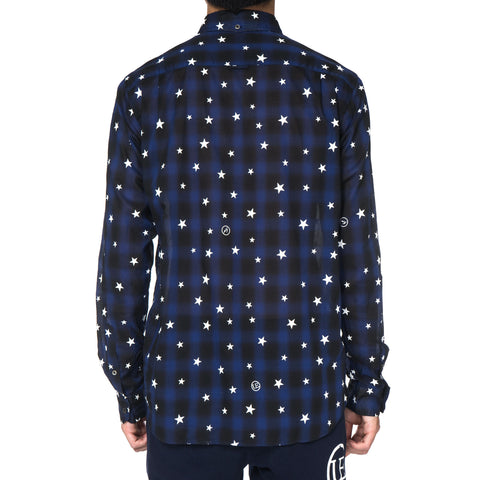 Star Print Fine Loan Check B.D Shirt Navy