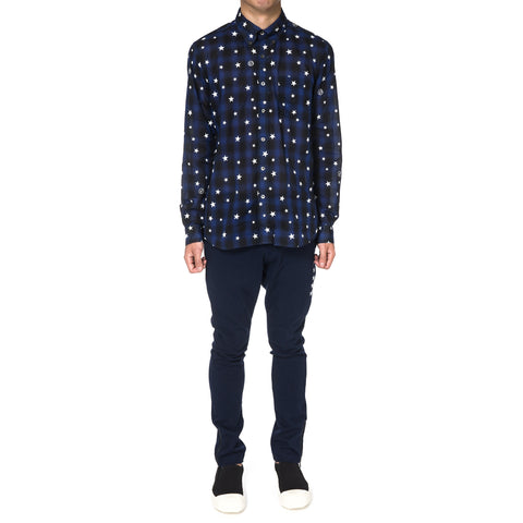 Uniform Experiment Star Print Fine Loan Check B.D Shirt Navy