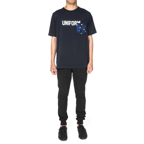Uniform Experiment Star Print Ombre Check Back Panel Long Pocket Tee Navy