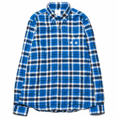 Uniform Experiment 5 Star Applique Wrinkled Check B.D Shirt Blue