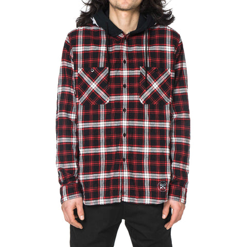 Uniform Experiment Star Hooded Wrinkled Check Shirt