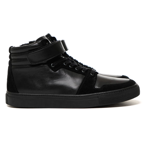 SOPHNET. Velcro Strap High-Top Zip Up Leather Sneaker Black