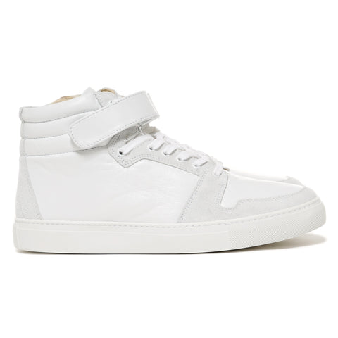 SOPHNET. Velcro Strap High-Top Zip Up Leather Sneaker White