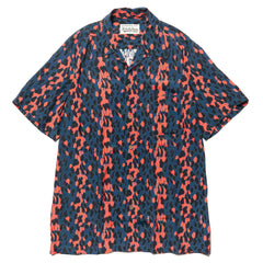 wacko maria Leopard S/S Hawaiian Shirt (Type-1) Blue/Red