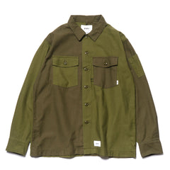 wtaps Buds LS 01 / Shirt. Cotton. Satin Olive Drab