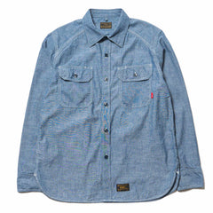 WTAPS Cell LS / Shirt. Cotton. Chambray Indigo