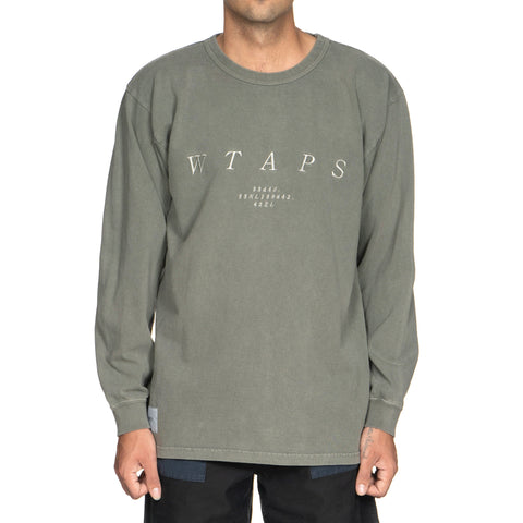 WTAPS Design LS System / Tee. Cotton. Loopwheel Olive Drab