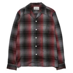 WACKO MARIA 60's Ombray Check Open Collar Shirt (Type-4) Red