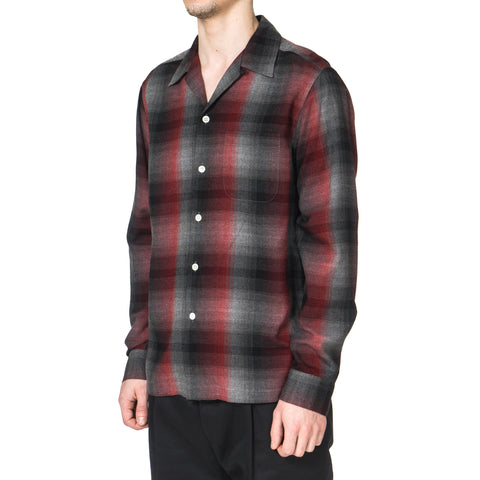 Wacko Maria 60's Ombre Check Open Collar Shirt (Type-2) Red