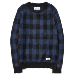 WACKO MARIA Mohair Block Check Sweater Blue