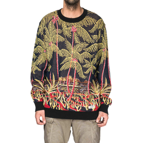 wacko maria Palms Tree Jacquard Sweater Navy