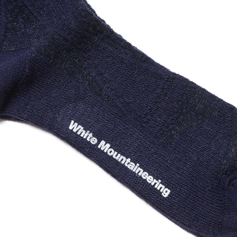 White Mountaineering Cable Pattern Middle Socks Navy
