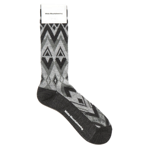 White Mountaineering X Pattern Middle Socks Black