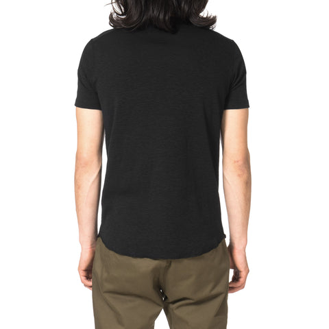 wings + horns 1x1 Slub Short Sleeve Crewneck Black