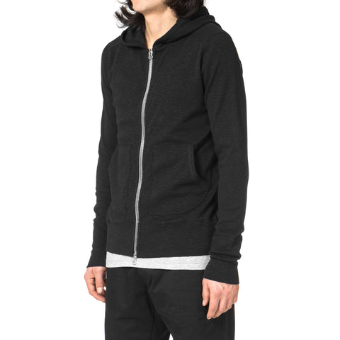 wings + horns 1x1 Slub Zip Hoodie Black