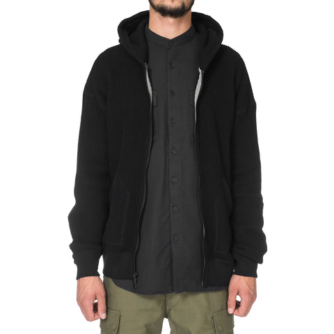 wings + horns Knit Wool Zip Hoodie Black