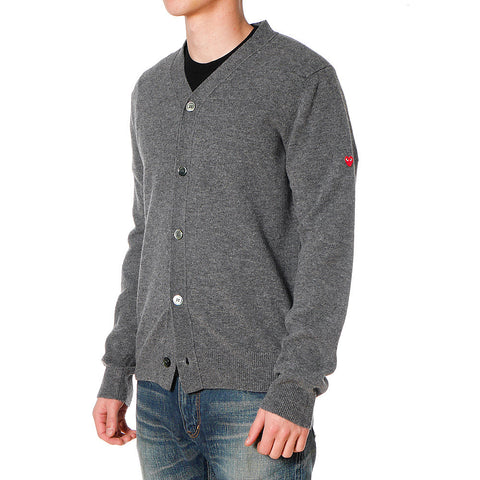 Wool Jersey Side Arm Little Red Emblem Cardigan Gray
