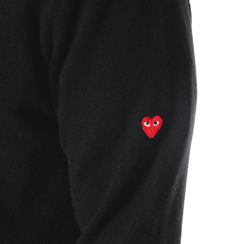 Wool Jersey Side Arm Little Red Emblem V-Neck Sweater Black
