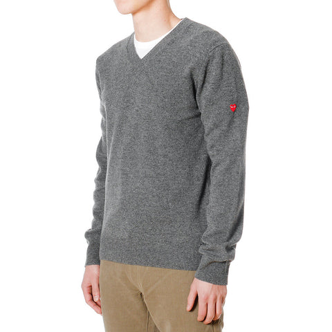 Wool Jersey Side Arm Little Red Emblem V-Neck Sweater Gray