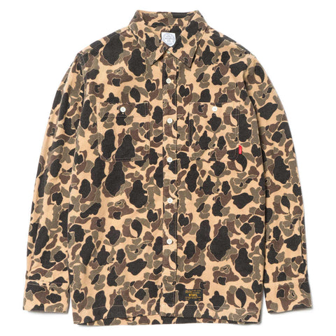 Wtaps Grove LS / Shirt. Cotton. Flannel. Camo beige
