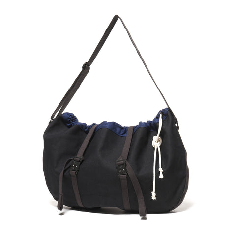 hobo Cotton Canvas Round Shoulder Bag Black