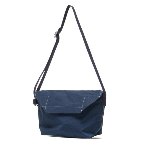 hobo Cotton Nylon Grosgrain Flap Shoulder Bag Navy