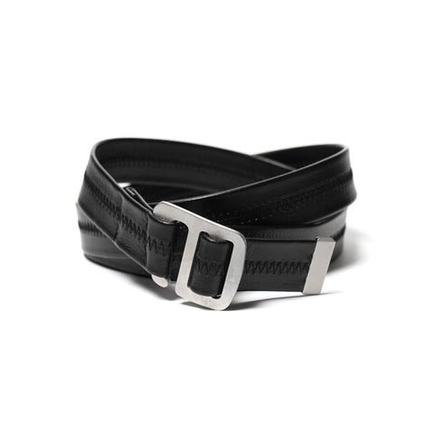 hobo Cow Leather Belt With Brass Buckle Black