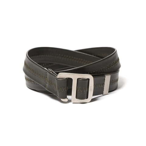 hobo Cow Leather Belt With Brass Buckle Olive