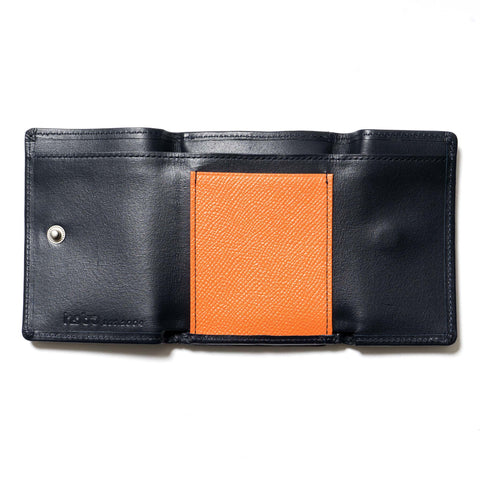 hobo Cow Leather Trifold Wallet Navy